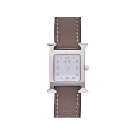 Hermes HH1.210 Stainless Steel & Leather White Dial Quartz 21mm Womens Watch