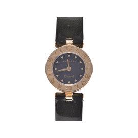 Bulgari B-Zero BB22G Yellow Gold Stainless Steel & Black Leather Quartz 22mm Womens Watch