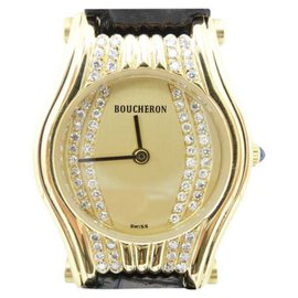 Boucheron Quartz 18K Yellow Gold & Leather 23mm Womens Watch