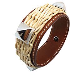 Hermes Silver Tone Hardware & Leather Bangle Bracelet