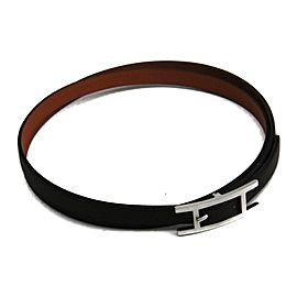 Hermes Silver Tone Hardware & Leather Choker Necklace
