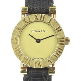 Tiffany & Co. Atlas D286.753 18K Yellow Gold / Leather Quartz 19mm Womens Watch