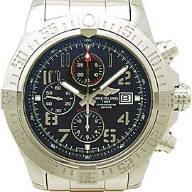 Breitling Super Avenger II A13371 Stainless Steel Black Dial Automatic 48mm Mens Watch