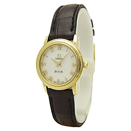 Omega De Ville 4670.71.02 18K Yellow Gold & Leather White Dial Quartz 22mm Womens Watch