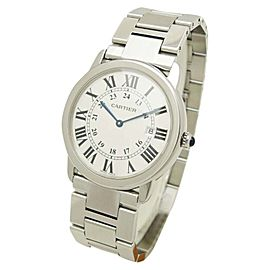 Cartier Rondo Solo W6701005 Stainless Steel Silver Dial Quartz 36mm Mens Watch