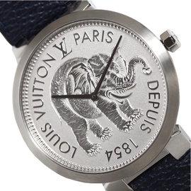 Louis Vuitton Tambour Q2D07 Stainless Steel / Leather Quartz 39mm Mens Watch