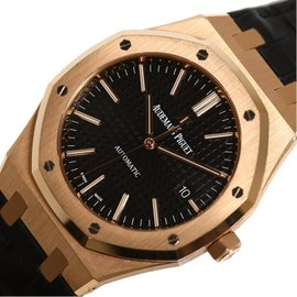 Audemars Piguet Royal Oak 15400OR.OO.D002CP.01 Rose Gold & Leather Automatic 41mm Mens Watch