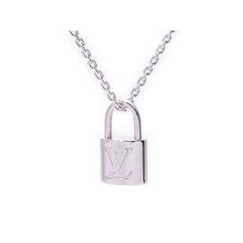 Louis Vuitton 18k White Gold Padlock Pendant Necklace