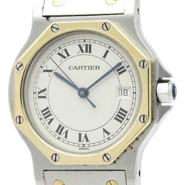 Cartier Santos 187902 Stainless Steel and 18K Yellow Gold Quartz 29mm Womens Watch