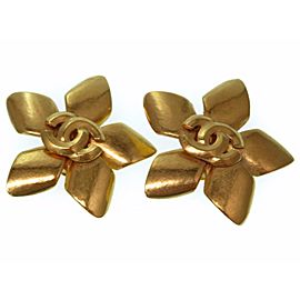 Chanel Gold Tone Hardware Flower Earrings