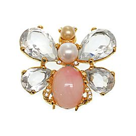 Christian Dior Gold Tone Hardware with Pearl Brooch