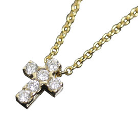 Van Cleef & Arpels 18K Yellow Gold and Diamond Cross Pendant Necklace