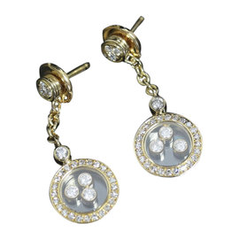 Chopard 18K Yellow Gold and Diamond Earrings