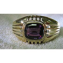 14K Yellow Gold Amethyst Diamond Vintage Bracelet