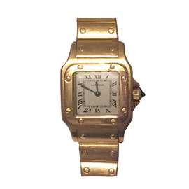 Cartier Santos Yellow Gold Automatic Ladies Watch