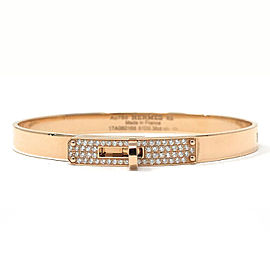 Hermes 18 Karat Rose Gold Kelly H Bracelet With Diamonds