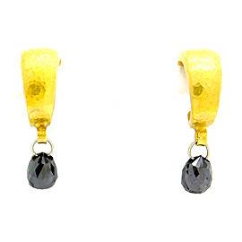 24K Gurhan Briolette Cut Black Diamond Drop Earrings