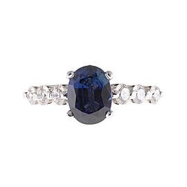 Vintage Platinum Cornflower 2.27ct Blue Sapphire Ring Size 6
