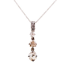 Platinum Diamond Vintage Dangle Pendant Necklace
