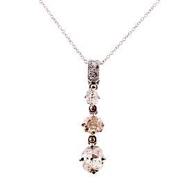Platinum Diamond Vintage Dangle Pendant Necklace