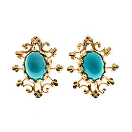14K Rose Gold and Turquoise Earrings