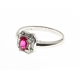Platinum Ruby & Diamond Ring Size 6.25