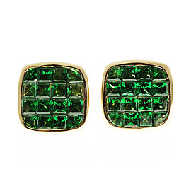 18K Yellow Gold with Green Square Tsavorite Garnet Earrings