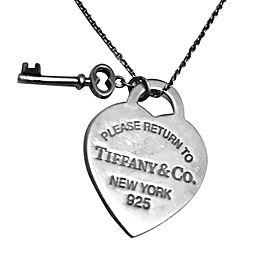 Tiffany & Co. Sterling Silver Return To Tiffany Heart Tag Key Pendant Necklace