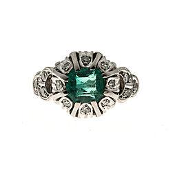 Platinum 0.90ct Emerald & 0.10ct Diamond Ring Size 4