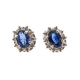 18K White Gold Royal Blue Sapphire and Diamonds Earrings