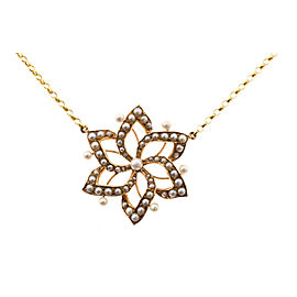 14K Yellow Gold with Pearl Open Flower Necklace