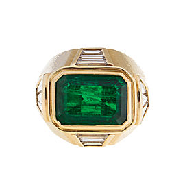 David Webb 18k Yellow Gold Zimbabwe Emerald Diamond Ring