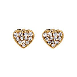 Bvlgari 18k Yellow Gold Diamond Heart Earrings