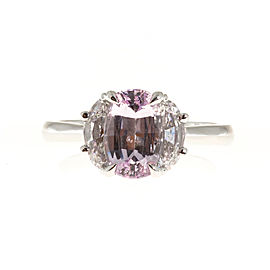 Vintage Platinum with 2.24ct Natural Light Pink Cushion Sapphire and .76ct Diamond Ring Size 6.25