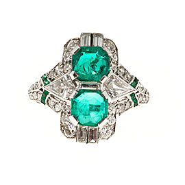 Vintage Antique Art Deco Platinum with 1.20ct Asscher Emerald & Diamond Ring Size 5