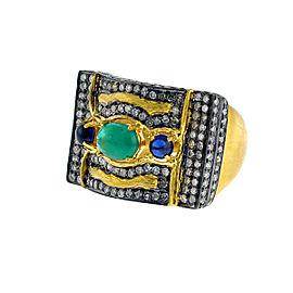 18k Yellow Gold Diamond Emerald Ring