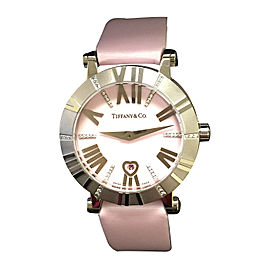 Tiffany Co Atlas Watch 18K White Gold Diamonds Pink 30mm Watch