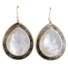 Ippolita Ondine 18K Yellow Gold Quartz and Mother of Pearl Teardrop Earrings