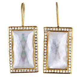Ippolita 18K Yellow Gold Diamond and Mother of Pearl Rectangular Earrings