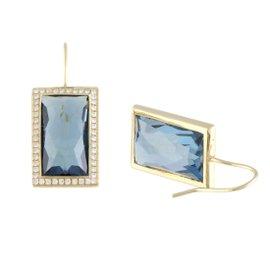 Ippolita 18K Yellow Gold Diamond and London Blue Topaz Rectangular Earrings