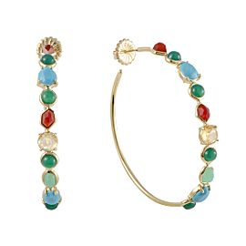 Ippolita Rock Candy 18K Yellow Gold Multi-Colored Stones Hoop Earrings