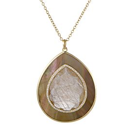 Ippolita 18K Yellow Gold Diamond Rutilated Quartz and Mother of Pearl Pendant Necklace