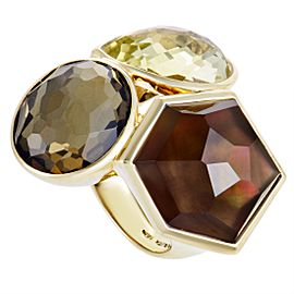 Ippolita Rock Candy 18K Yellow Gold Multi-Colored Stone Cocktail Ring Size 7.25