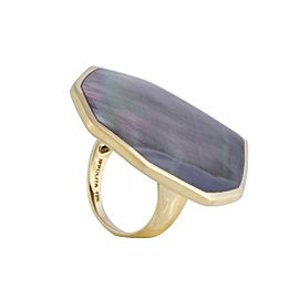 Ippolita 18K Yellow Gold Black Mother of Pearl Octagonal Ring Size 7.25