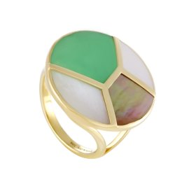 ippolita Rock Candy 18K Yellow Gold Mother of Pearl and Green Agate Ring Size 7.25
