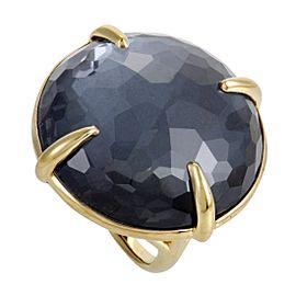 Ippolita Rock Candy 18K Yellow Hematite Round Ring Size 7.25