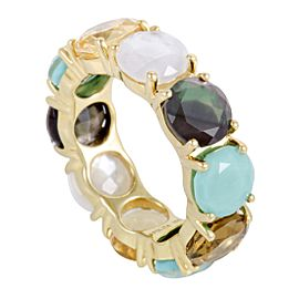 Ippolita Rock Candy 18K Yellow Multi-Colored Stones Band Ring Size 7.5