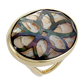Ippolita Rock Candy 18K Yellow Gold Quartz and Mother of Pearl Cutout Ring Size 8