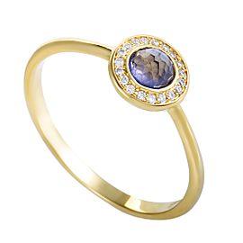 Ippolita Lollipop 18K Yellow Gold Diamond and Iolite Mini Round Ring Size 7.25