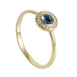 Ippolita Lollipop 18K Yellow Gold Diamond and London Blue Topaz Ring 7.25